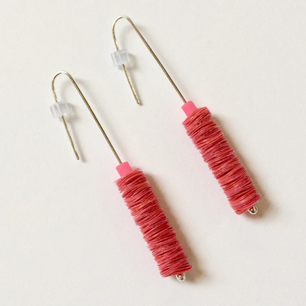 Polythene and Silver Red and Hot Pink Drop Earrings