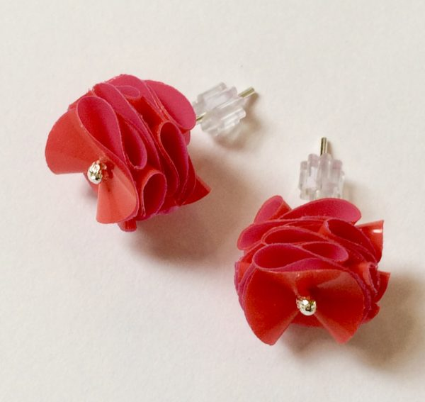Polythene and Silver Red and Hot Pink Stud Earrings