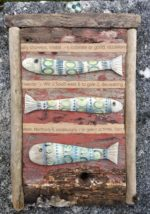 Ceramic and Driftwood Three Fishes