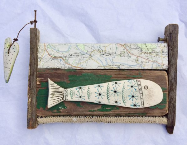 Ceramic and Driftwood Little Fish