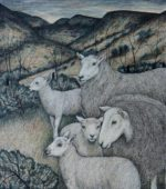 Original pen, ink and coloured pencil  Ewes and Lambs Uplands