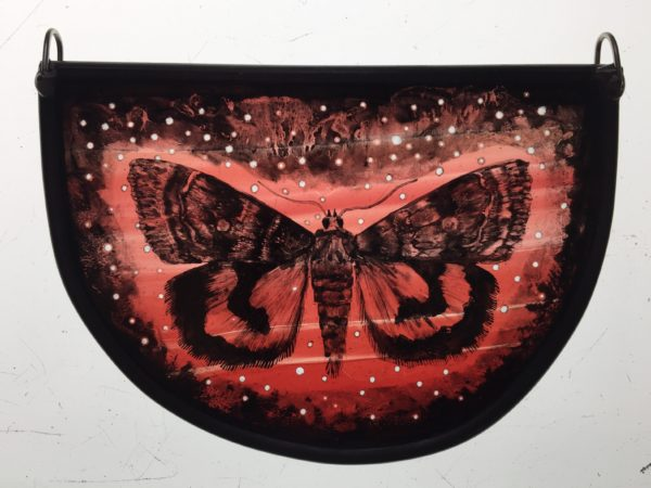 """Stained Glass Panel  Starry Red Underwing"""