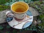 Slip Decorated Earthenware Circles Cup and Saucer