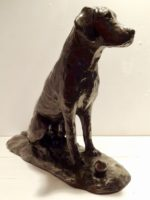 Cold Cast Bronze Resin Sitting Dog