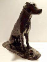 Cold Cast Bronze Resin Sitting Dog