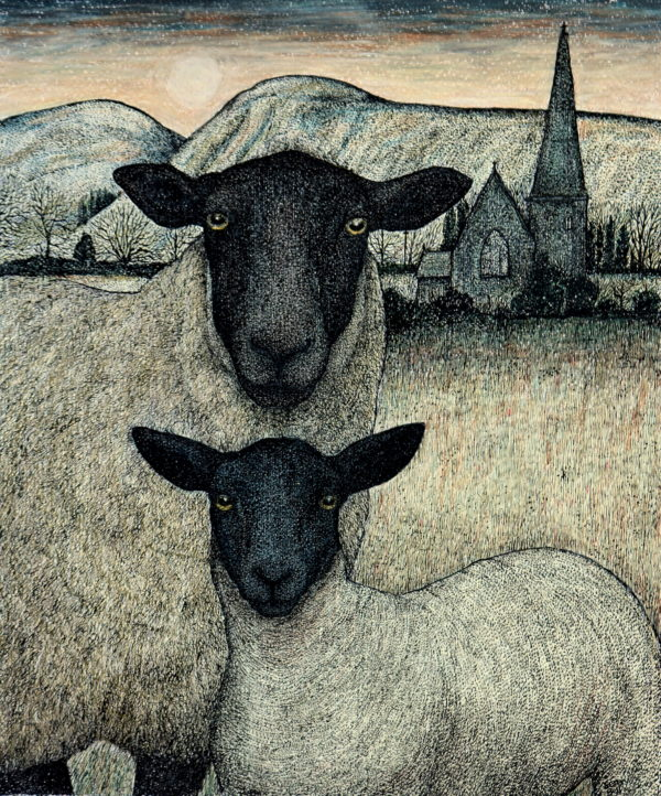 Original pen, ink and coloured pencil 'Winter Lamb'