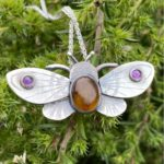 Silver Pendant 'Moth with Amber'