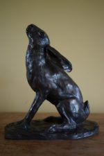 Cold Cast Bronze Resin Moon Gazing Hare