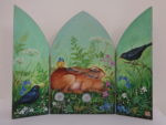 Hand Painted triptych 'Meadowsweet'