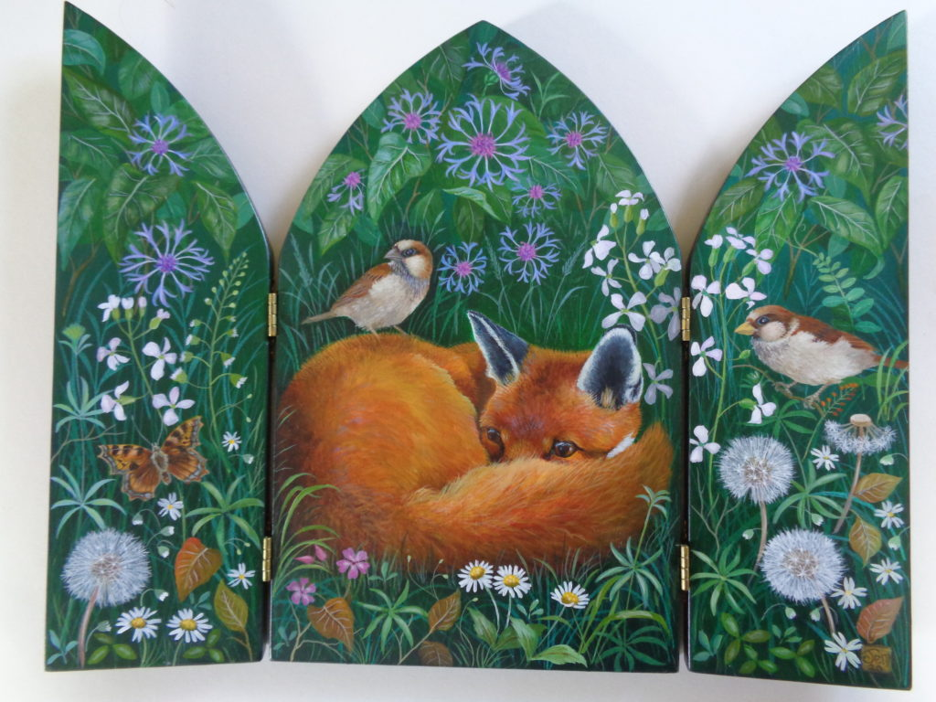Hand Painted triptych 'Under the Hedge'