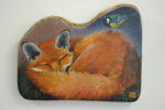 Hand Painted Olive Wood Panel  'Dreaming Fox'