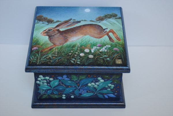 Hand Painted Wooden Box 'Over Frosty Fields'