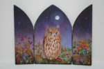 Hand Painted triptych 'Wondrous Moonlight'