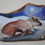 Hand Painted Olive Wood Panel 'Winter Caribou'