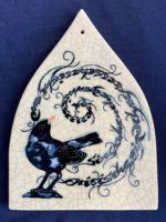 Pointed Arch Raku Tile - Blackbird