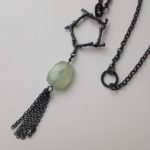 Oxidised silver hexagon spiky coral necklace with tassel