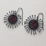 Oxidised silver sparkle sunflower drop earrings