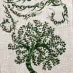 Large Rectangular Raku Tile Green Tree