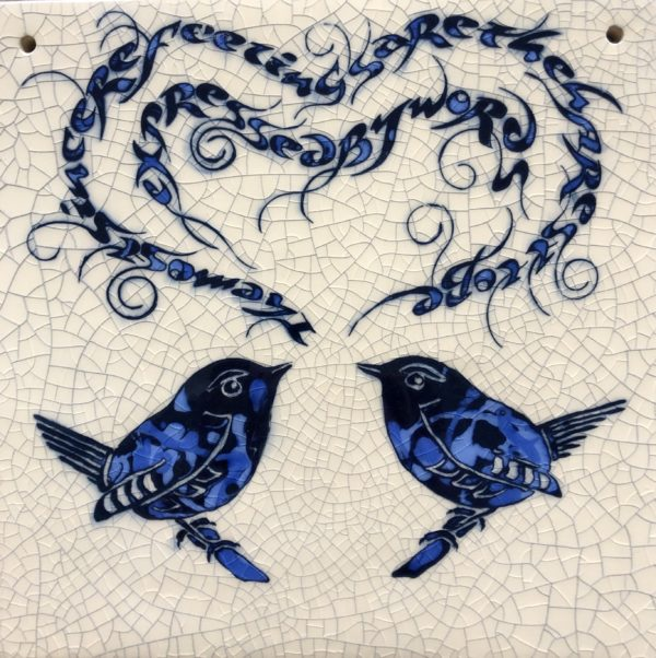 Large Square Raku Tile Love Wrens