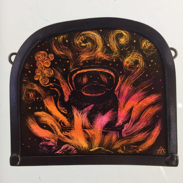 """Stained Glass Panel  Bonfire Kettle"""