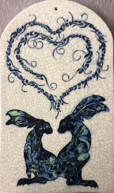 Large Arch Raku Tile Blue Green Hares