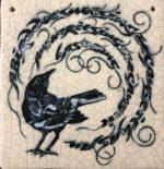 Medium Square Raku Tile Blackbird