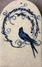 Round Arch Raku Tile Blue Swallow