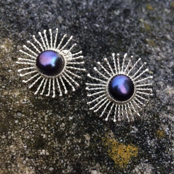 Silver Sunstar Stud Earrings with large peacock freshwater pearls