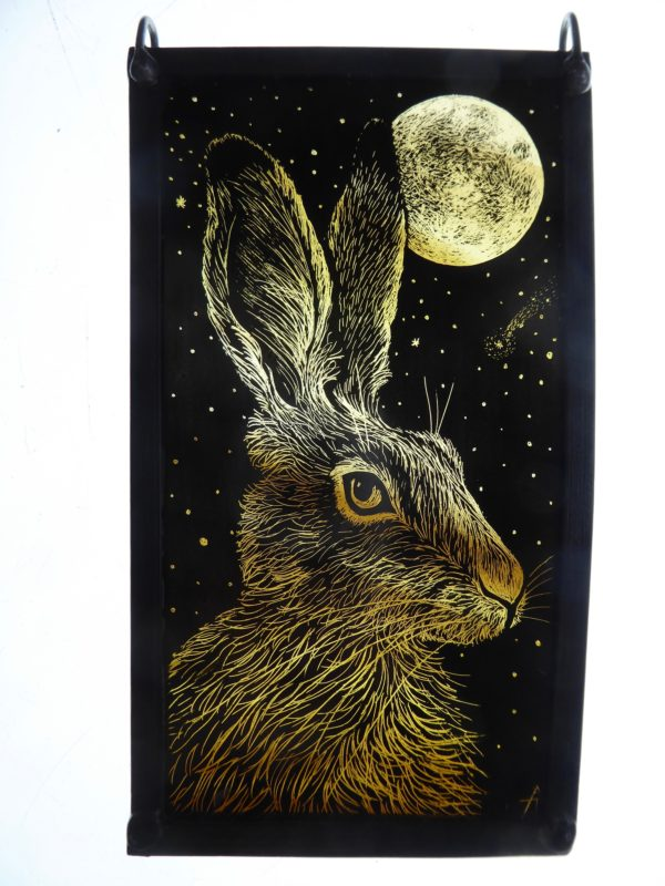 """Stained Glass Panel  Hare and the Moon"""