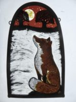 """Stained Glass Panel  Snowy Fox"""