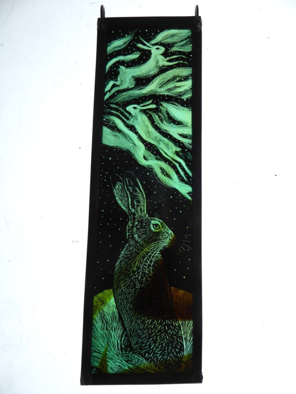 """Stained Glass Panel  Hare and the Aurora"""