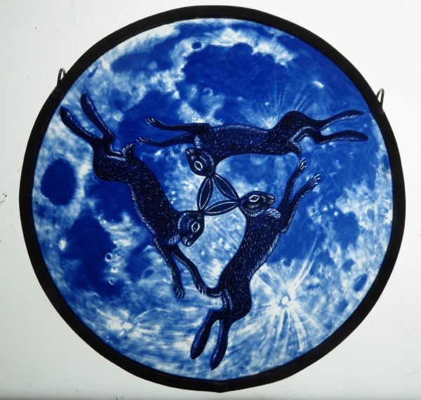 """Stained Glass Panel  Lunar Hares"""