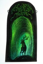 """'""""Stained Glass Panel Stag of the Greenwood"""""""