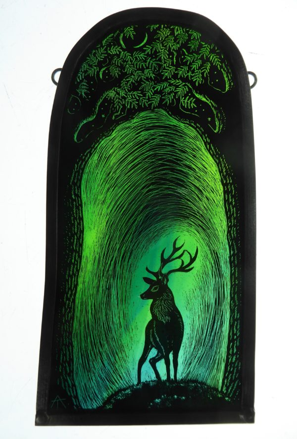 "'""Stained Glass Panel  Stag of the Greenwood"""