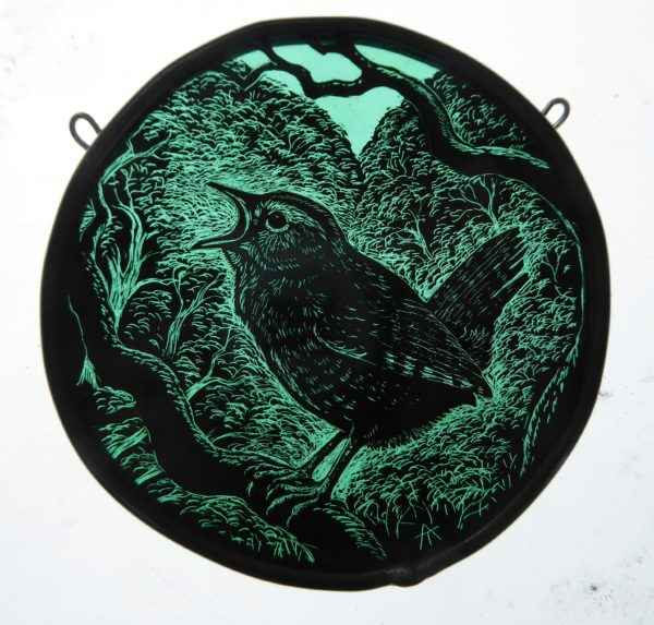 "'""Stained Glass Panel  Wren Roundel"""