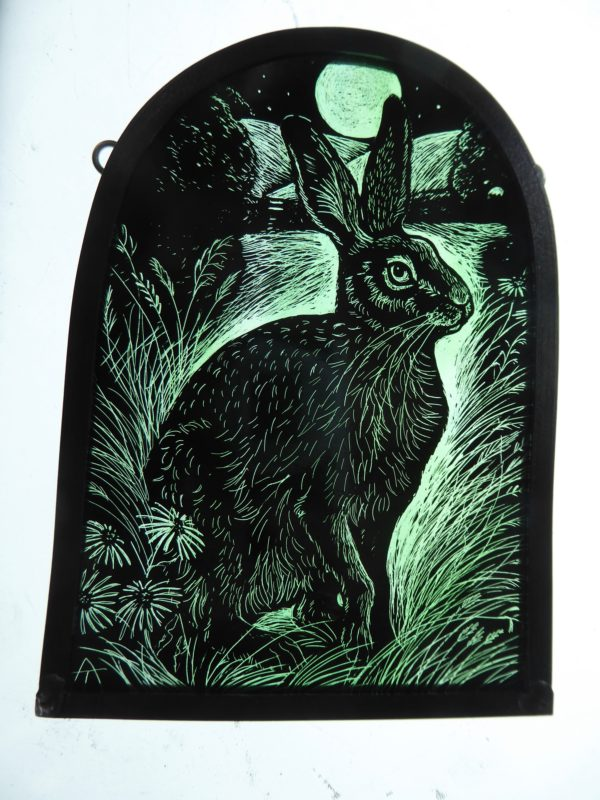 "'""Stained Glass Panel   Moonlit Meadow Hare"""