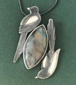 Silver Pendant 'Two For Joy' with Labradorite