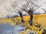 Acrylic and pastel Original painting 'Winter Willows'
