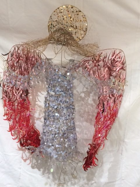 Suspended Angel Sculpture with sequins