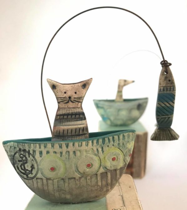 Ceramic and Driftwood  Cat in a boat