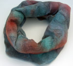 Hand Felted Cowl in Teal and Red