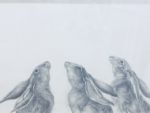 Original Pencil Drawing  'Hares: Three, Moongazers'