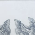 Original Pencil Drawing 'Hares: Three, Moongazers'