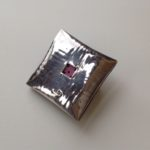 Silver 'Fat Parcel' Brooch with pink centre