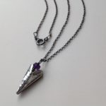 Silver Heart necklace on oxidised chain with amethyst