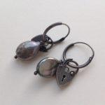 Silver Padlock Pearl earrings