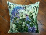 Hand painted silk velvet cushion Rain Forest Bird