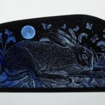"'""Stained Glass panel Bluebell Hare"""