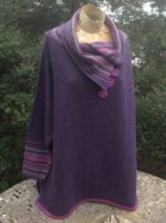 Felted Merino Wool  'Elderberry Brights Stripy Collar Jumper'