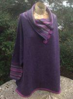 Felted Merino Wool 'Elderberry Brights Stripy Collar Jumper'